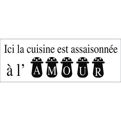 Sticker adhésif déco assaisonnement pour cuisine amour