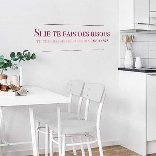 Stickers autocollant violet pancakes bisous pour décoration de salle à manger