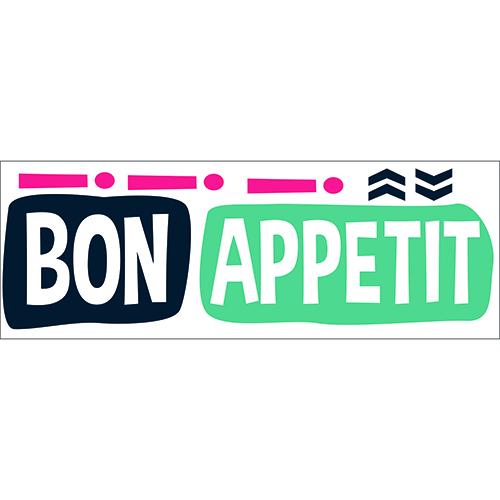 """Sticker autocollant """"Bon appétit !"""" gris pour décoration murale de cuisine"""