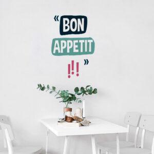 """Autocollant pour déco de salle à manger """"Bon appétit !"""""""