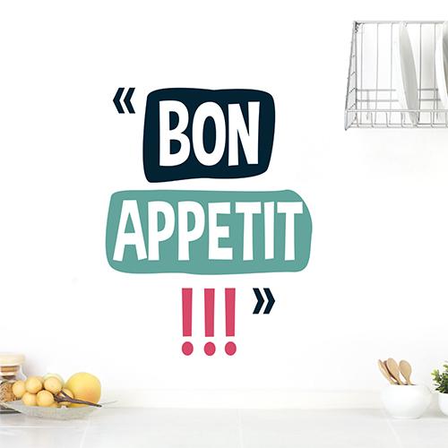 Sticker Bon appétit déco sur un mur blanc