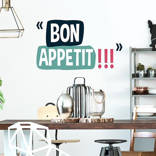 Sticker citation Bon appétit au dessus d'une table dans un salon