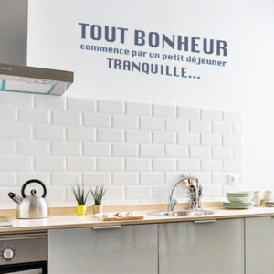 Adhésif ptit dej tranquille pour décoration de mur de cuisine