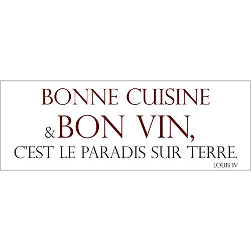 Sticker adhésif bonne cuisine bon vin décoration murale de cuisine
