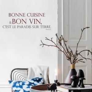 Adhésif déco pour mur de salle à manger citation bonne cuisine bon vin