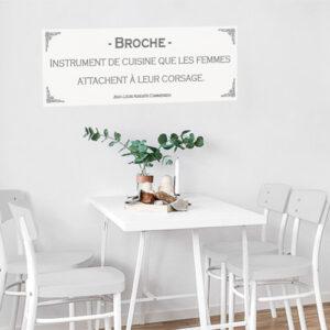 Autocollant pour mur gris de salle à manger décoration citation définition de broche