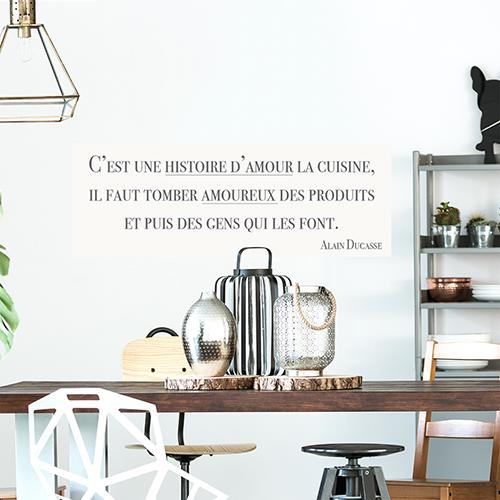Autocollant citation histoire d'amour pour déco de salle à manger moderne