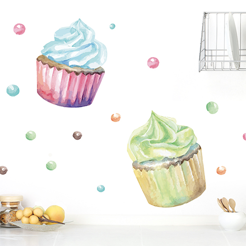 Adhésif stikcer cupcakes colorés pour décoration de cuisine