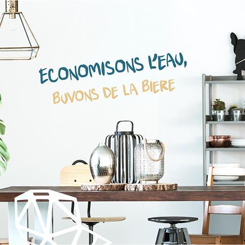 Sticker Economisons Biere au dessus d'une table de cuisine