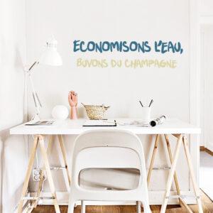 Adhésif eau et champagne pour décoration de bureau moderne