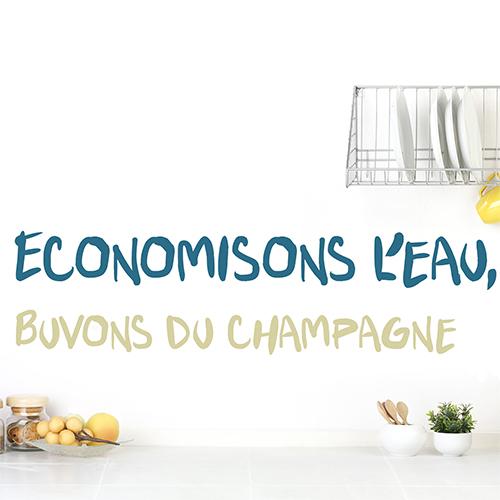 Sticker autocollant Economisons Champagne sur un mur blanc