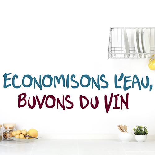 Sticker adhésif Economisons vin déco sur un mur blanc