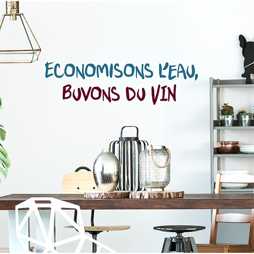 Sticker Economisons Vin citation dans une salle à manger