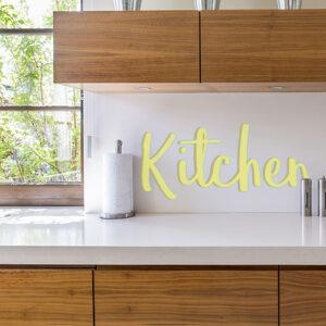 Sticker adhésif kitchen jaune pour crédence de cuisine moderne