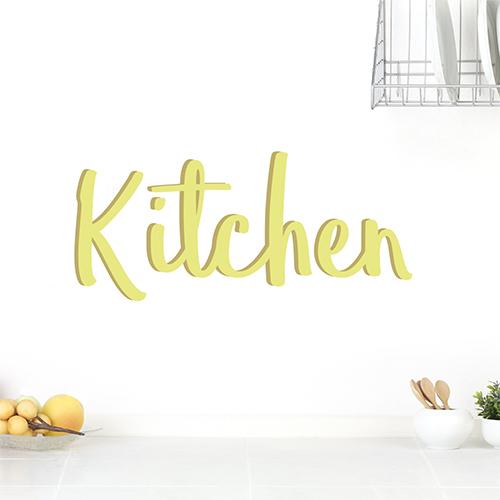 Sticker autocollant Kitchen déco sur un mur blanc