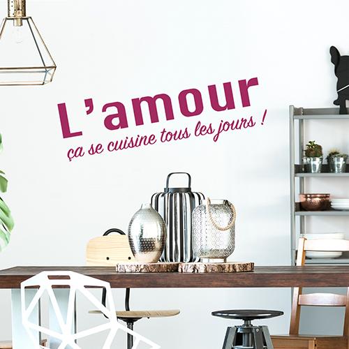 Sticker L'amour ca ce cuisine citation dans une salle à manger