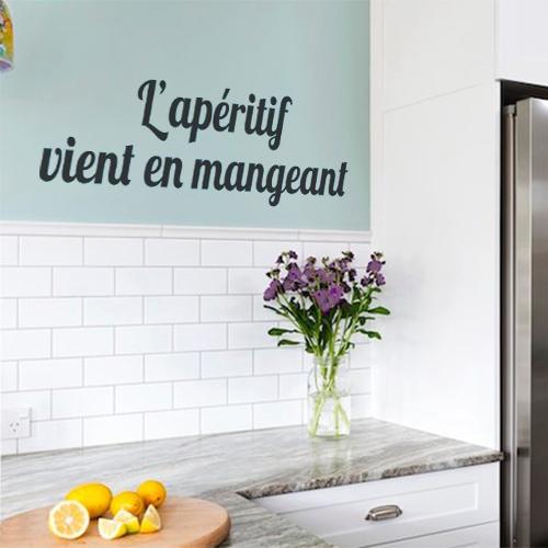 Sticker pour mur de cuisine décoration citation apéritif