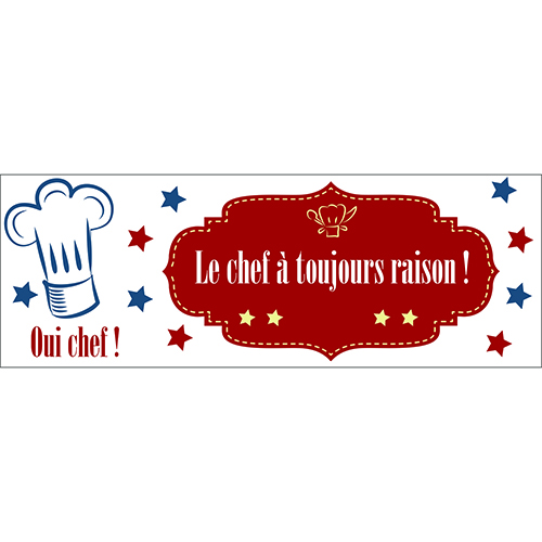 Sticker adhésif le chef pour cuisine décoration design texte