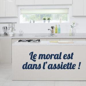 """Sticker cuisine américaine """"le moral est dans l'assiette"""""""