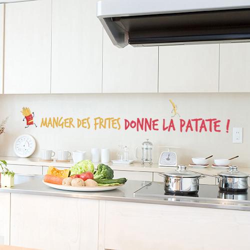 Sticker citation humour sur mur de cuisine