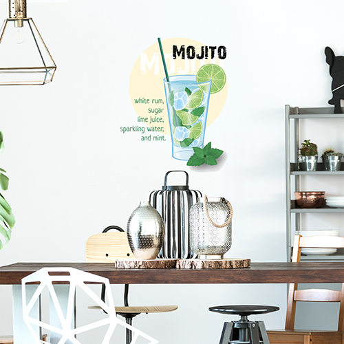Sticker mural pour cuisine recette pour un mojito réussi