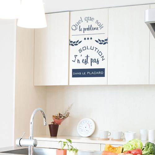 Sticker citation humoristique placard de cuisine