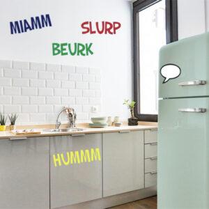 """Adhésif pour déco de cuisine moderne citation """"miam"""""""