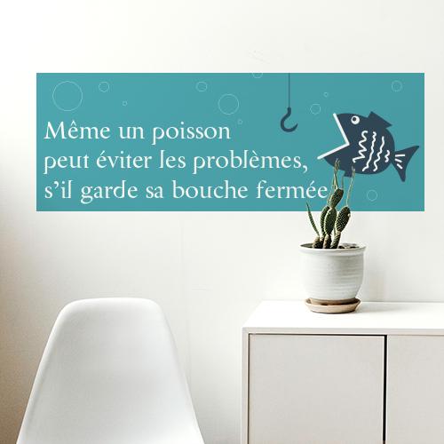 Sticker adhésif pour décoration de salle à manger poisson bleu