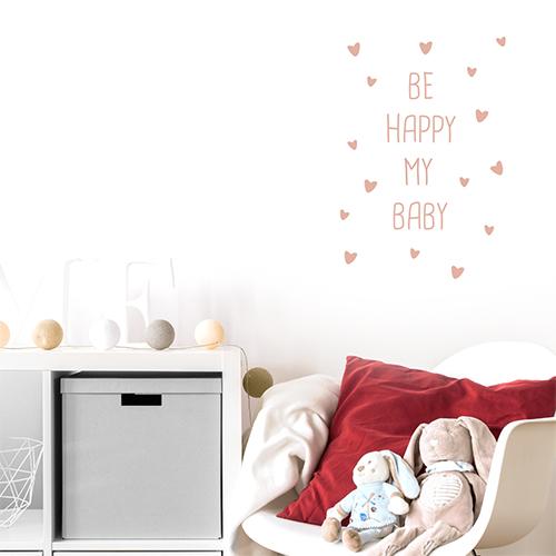 Adhésif citation rose pâle décoration chambre d'enfant
