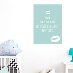 Autocollant décoration de chambre d'enfant affiche texte bisous vert bleu