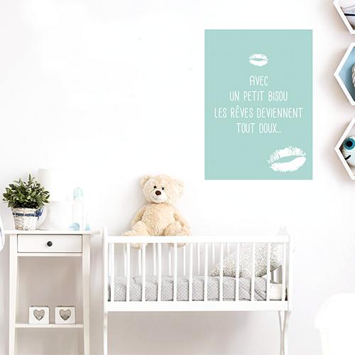 Adhésif bisous vert bleu affiche décorative pour chambre d'enfant