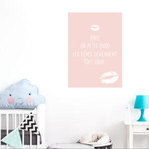 Adhésif affiche texte sticker bisous pour decoration de chambre d'enfant