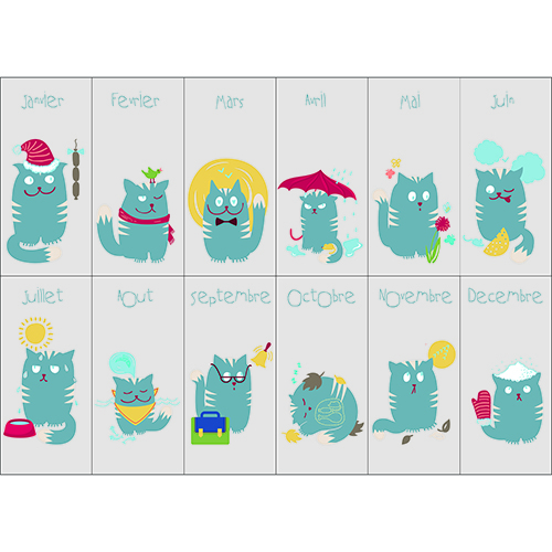 Sticker autocollant décoration mural calendrier pour chambre enfant