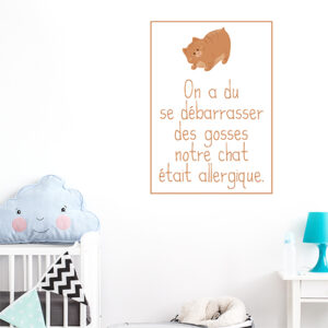Adhésif déco enfant et chat orange amusante chambre d'enfant