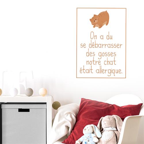 Autocollant pour chambre d'enfant citation orange enfant et chat