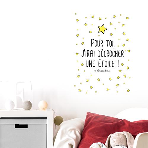 Adhésif étoiles noir et jaune pour deco chambre d'enfant