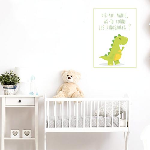 Adhésif dinosaure vert clair décoration chambre d'enfant