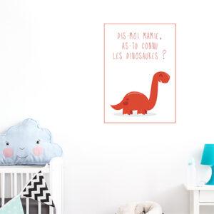 Adhésif déco citation dinosaure rouge pour chambre d'enfant