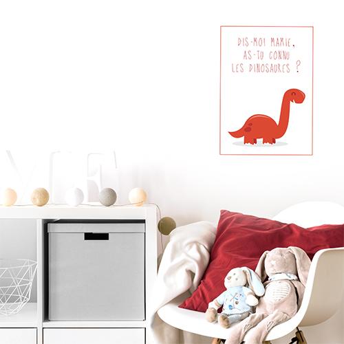 Autocollant citation pour chambre d'enfant déco dinosaure rouge