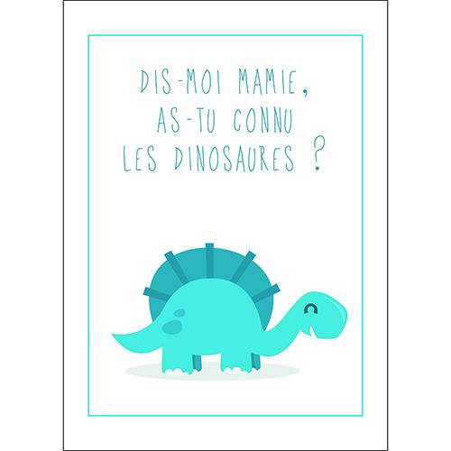 Sticker autocollant décoration d'intérieur dinosaure bleu pour chambre enfant citation texte