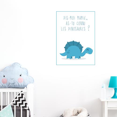 Autocollant citation dinosaure bleu pour décoration de chambre enfant