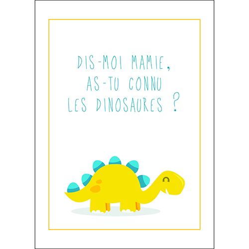 Sticker adhésif déco pour chambre d'enfant citation texte dinosaure jaune