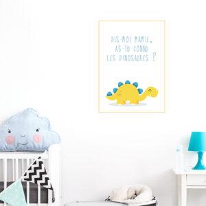 Adhésif citation dinosaure jaune pour déco chambre d'enfant