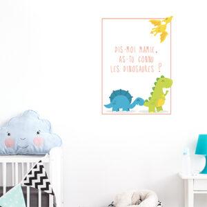 Autocollant citation texte déco multicouleurs dinosaure pour chambre d'enfant