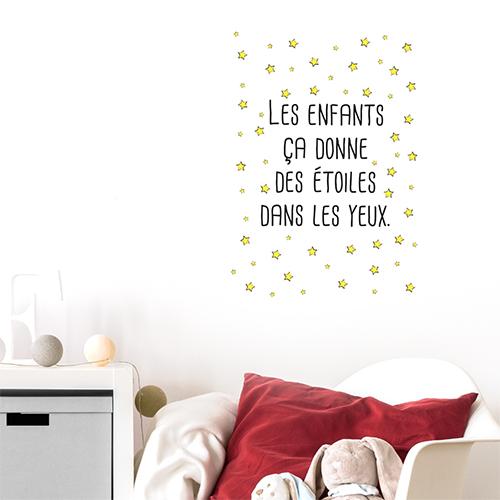 Autocollant décoration chambre d'enfant citation étoiles