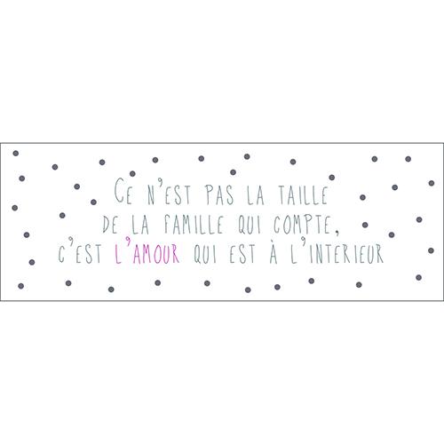 Sticker adhésif citation texte sur la famille et l'amour pour décoration d'intérieur