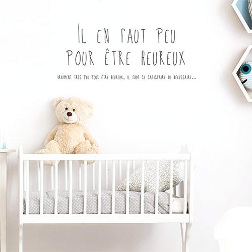 Adhésif citation sur le bonheur noir pour déco chambre d'enfant