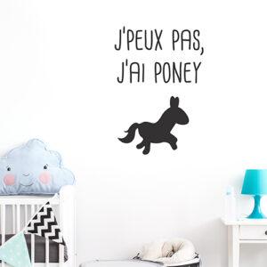 """Adhésif noir """"je peux pas j'ai poney"""" pour décoration chambre d'enfant"""