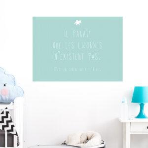 Adhésif licorne citation bleu vert pour déco chambre d'enfant