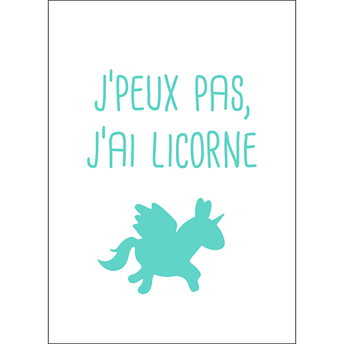 Sticker autocollant decoration d'intérieur licorne bleu pour chambre d'enfant